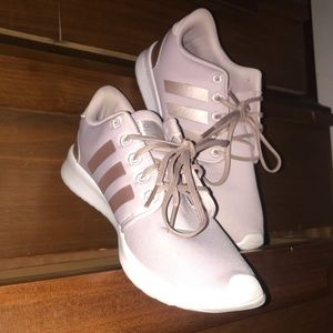 NWOT pink and metallic rose adidas cloudfoam shoes